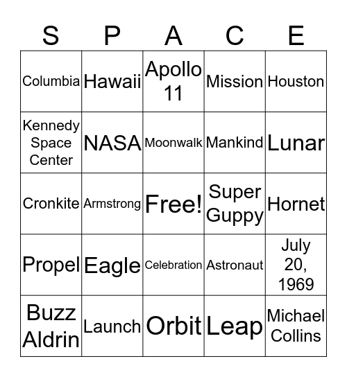 1st Lunar Landing Anniversary Bingo Card