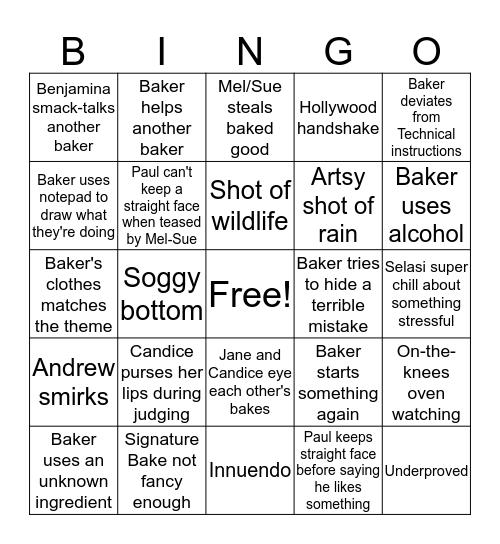 Bake Off Bingo Card