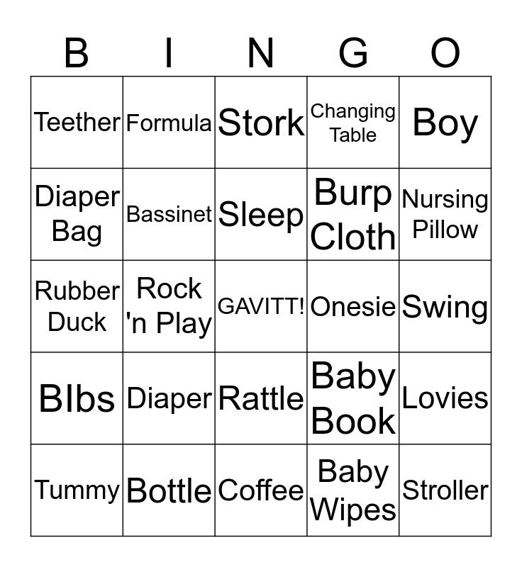 Gavitt's Baby Shower!! Bingo Card