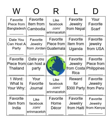 Trades of Hope World Bingo Card
