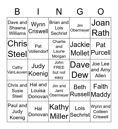 WHO'S AT THE PARTY?? Bingo Card