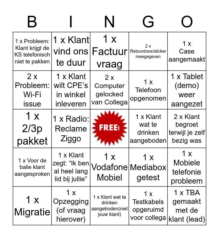 Bingoot bij de Ziggoot Bingo Card