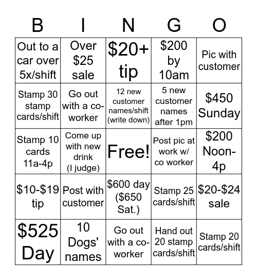 ROOST Bingo Card