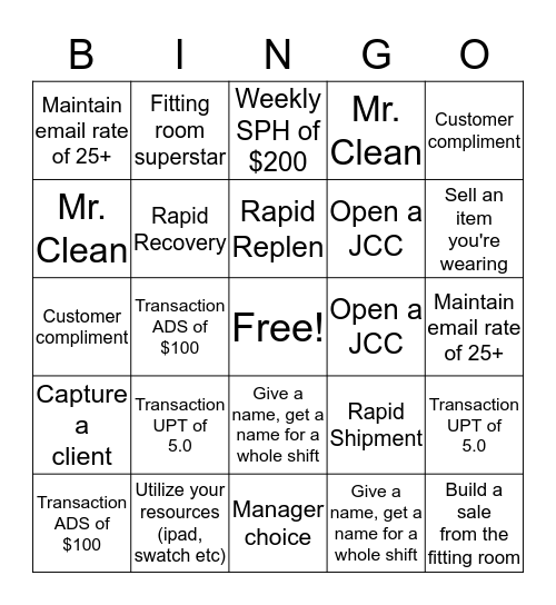 Top Four and more! Bingo Card