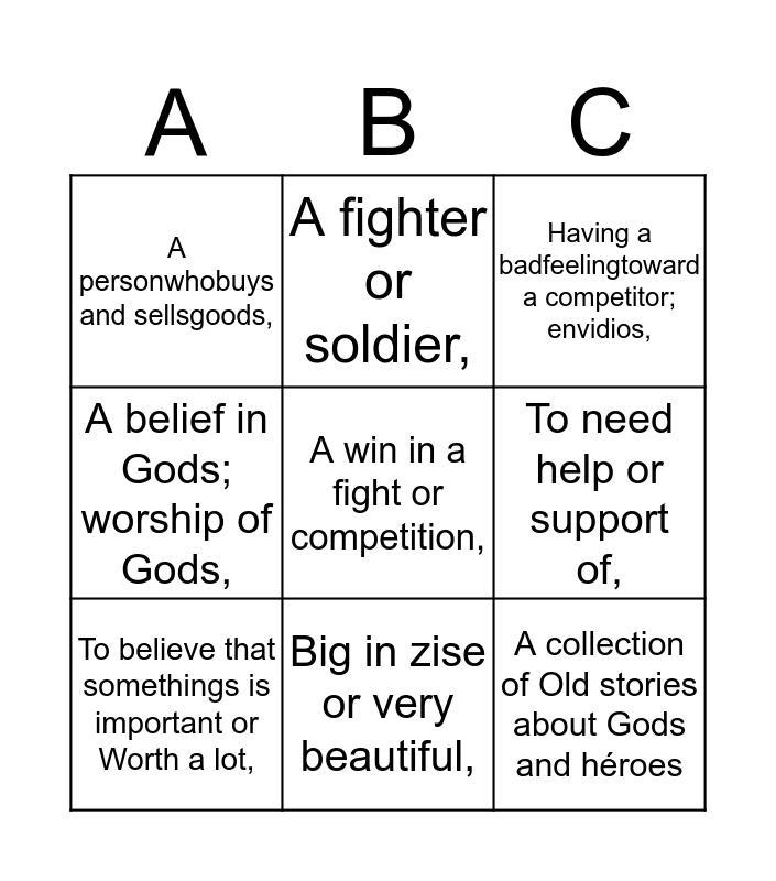 Ancient Greece Bingo Card