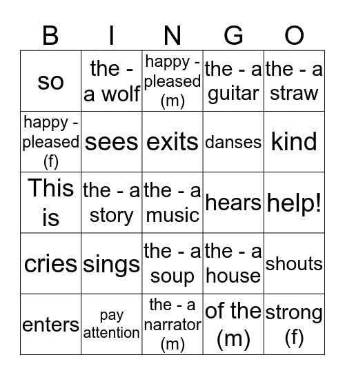 Bingo Les 3 petits cochons - Section E Bingo Card