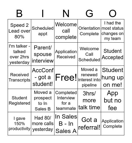 Recruitment Bingo Card