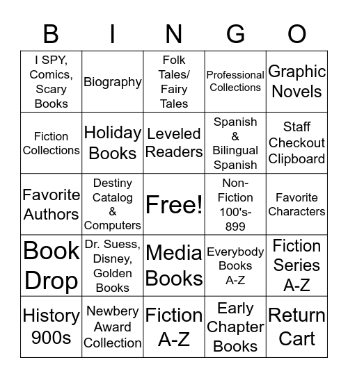 Library Scavenger Hunt Bingo Card