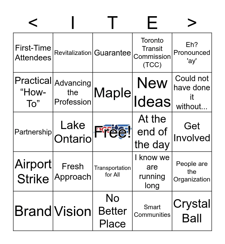ITE/CITE 2017 Annual Meeting Bingo - Sponsored by the North Carolina Section of ITE (NCSITE) Bingo Card