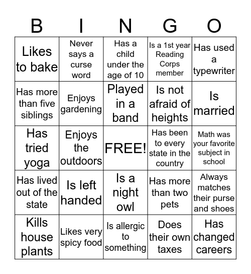 Ice breaker Bingo Card