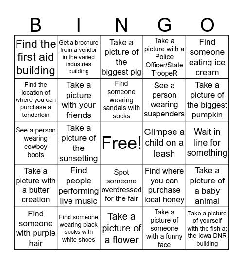 State Fair Bingo Card