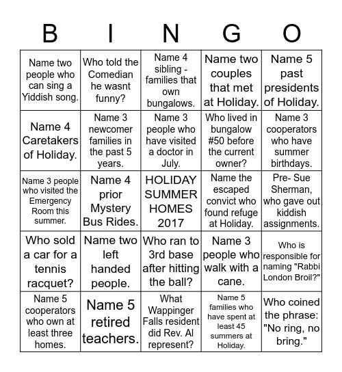 BUNGALOW BINGO 2017 Bingo Card