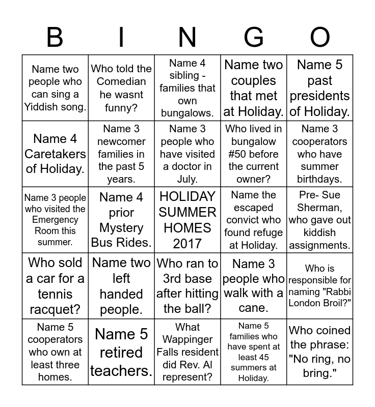 BUNGALOW BINGO 2017 Bingo Card