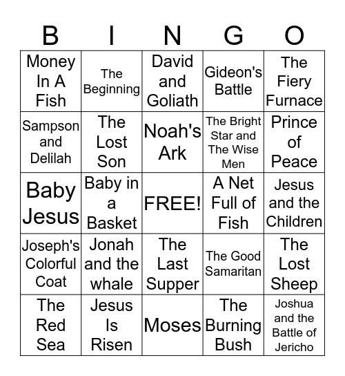 Biblical Bingo Card
