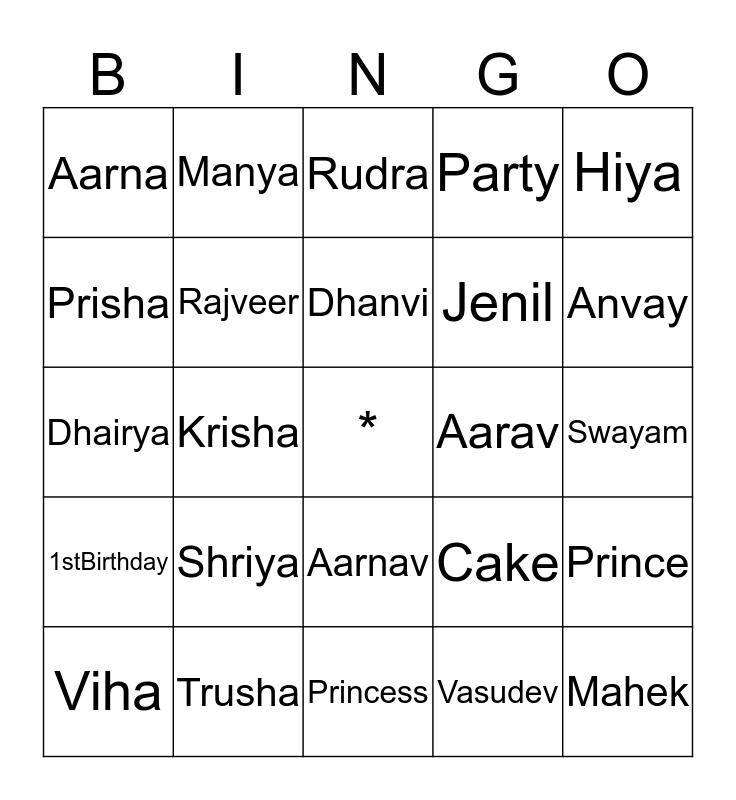 Shriya's 1st Birthday celebration Bingo Card