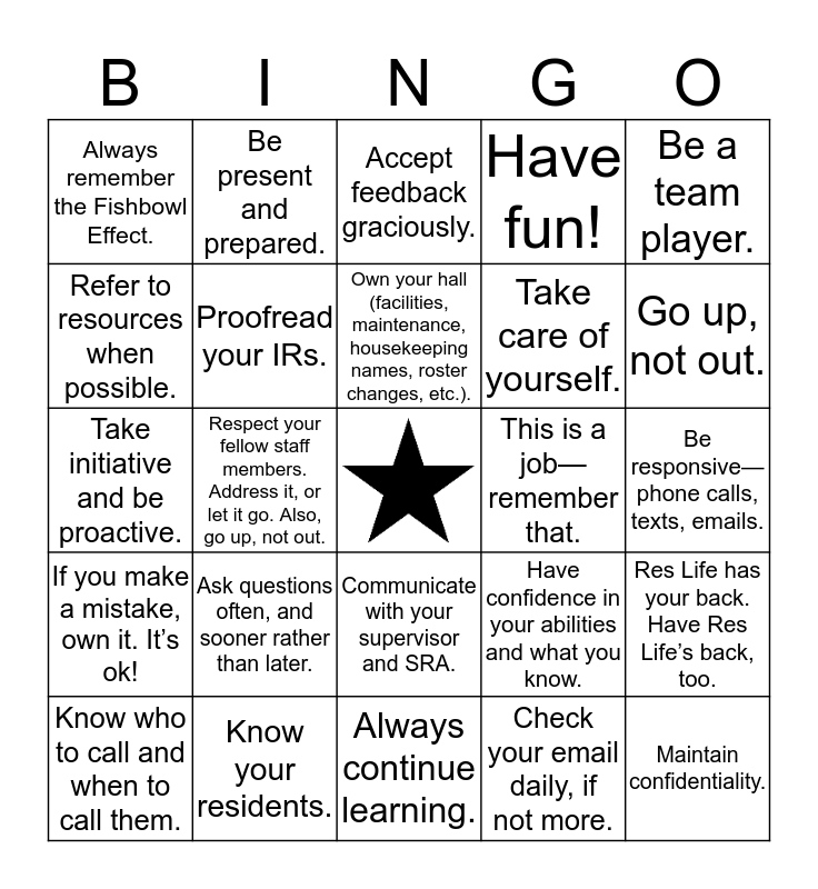 New RA Expectations Bingo Card