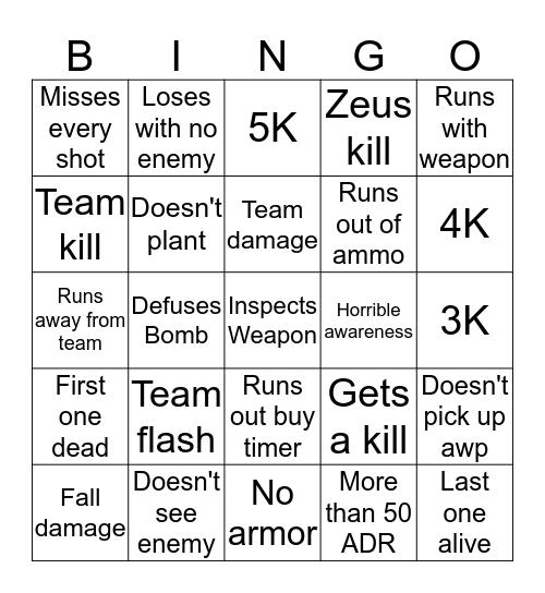 Miguel CSGO SKILLS Bingo Card