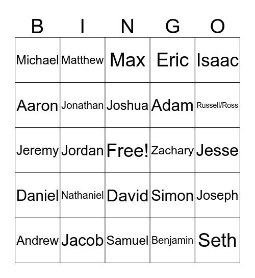 Jewish Men Bingo Card