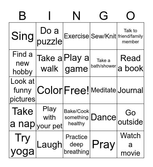Healthy Coping Skills Bingo! Bingo Card