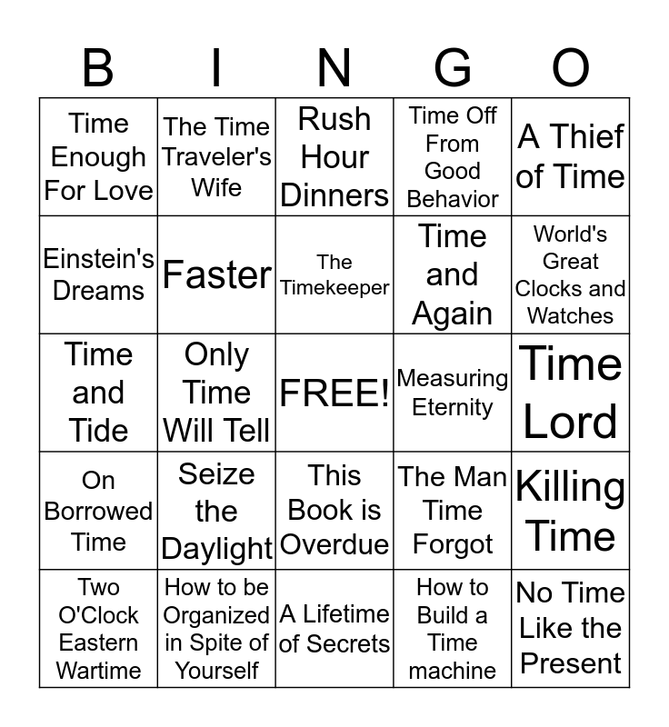 IT'S ABOUT TIME! Bingo Card