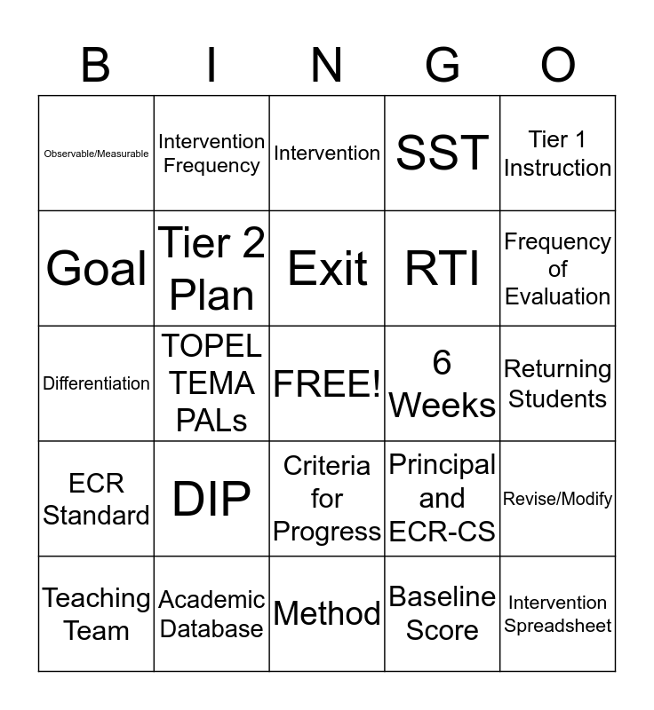 RTI:  It's All About the Academics! Bingo Card