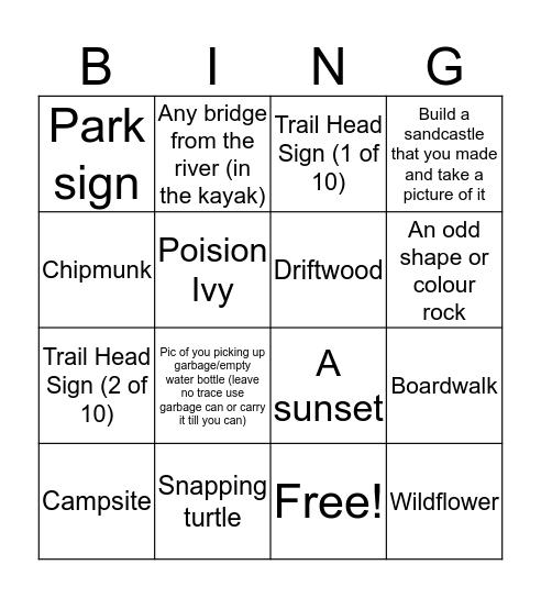 Great Camera Excursion Bingo Card