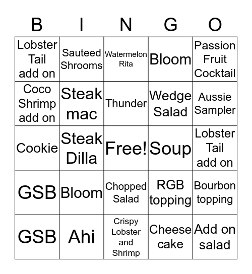 Outback Bingo Card