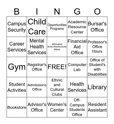 Student Affairs Bingo Card