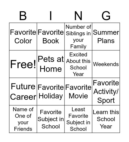 About Me- Back to School Bingo Card