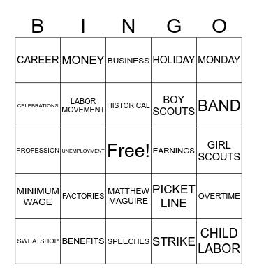 Labor Day Bingo Card