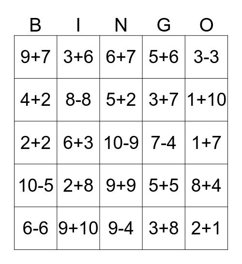 Math Bingo! Bingo Card