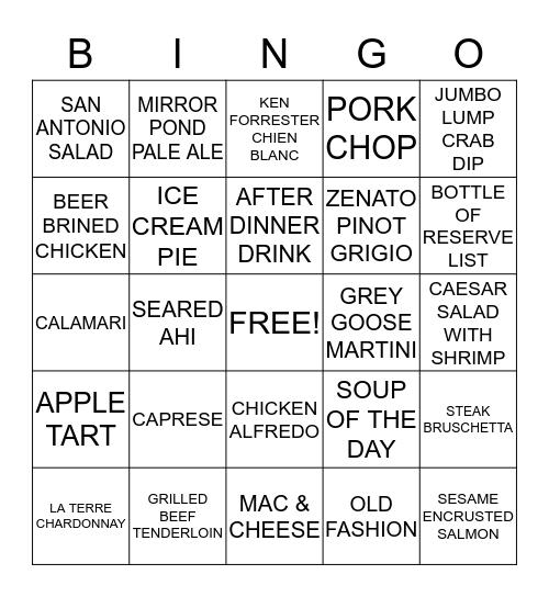 NAME: ________________________ Bingo Card