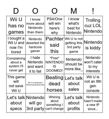 Nintendo Bingo Board V.2 Bingo Card