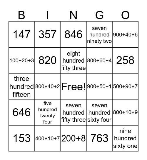 Place Value BINGO Card