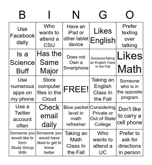 Contact Information Bingo Card