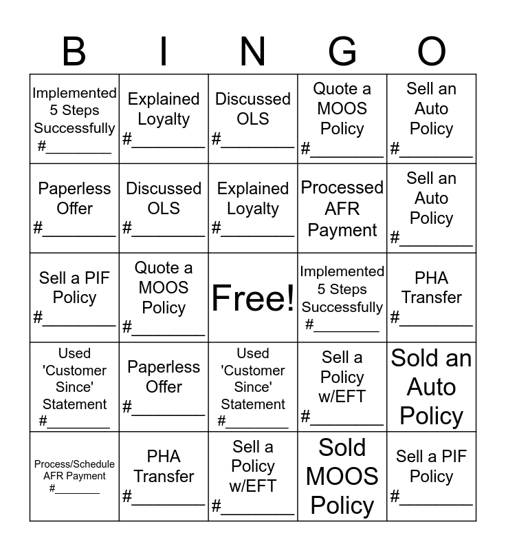 Blended Bingo Card