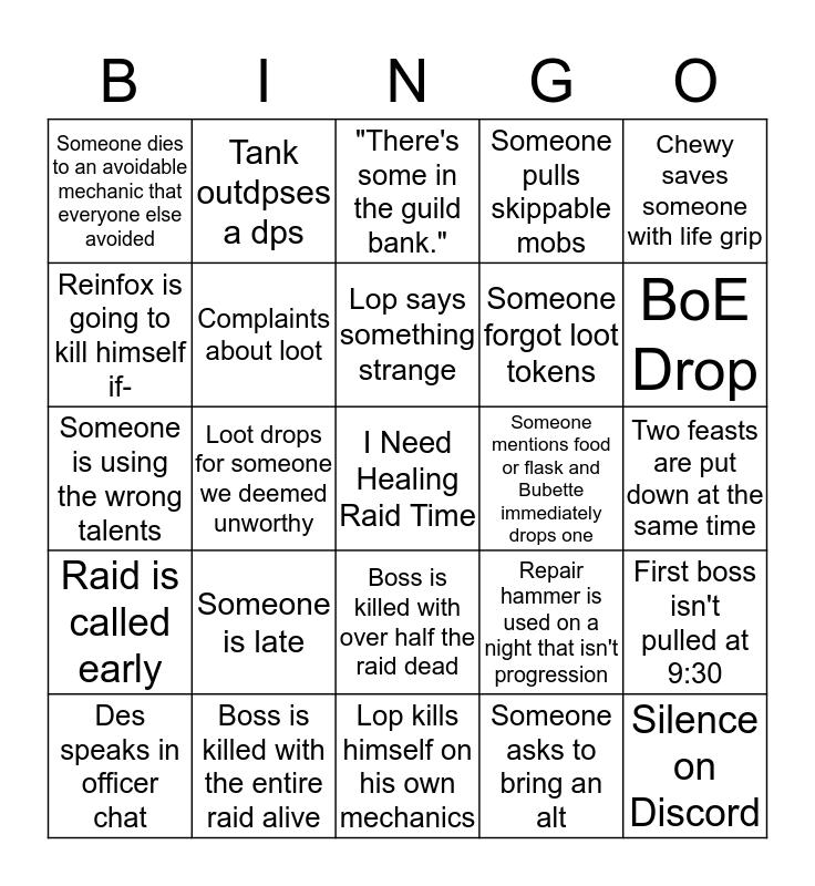 Raid Night Cancer~ Bingo Card