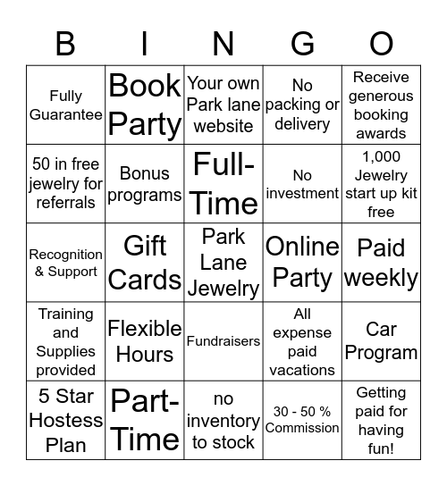 Park Lane Jewelry Bingo Card