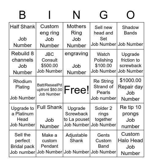 Repair Bingo!!! Bingo Card