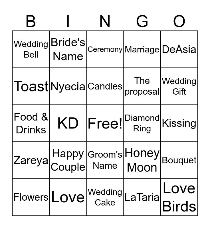 Kerwyn + LaTaria Wedding Shower Bingo Card