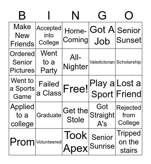 A and A's Bingo Card