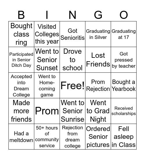 Senior Summary Bingo Card