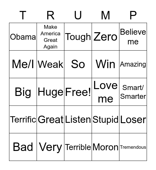 Trump's Limited Vocabulary Bingo Card