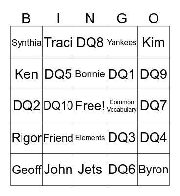 Marzano Bingo Card