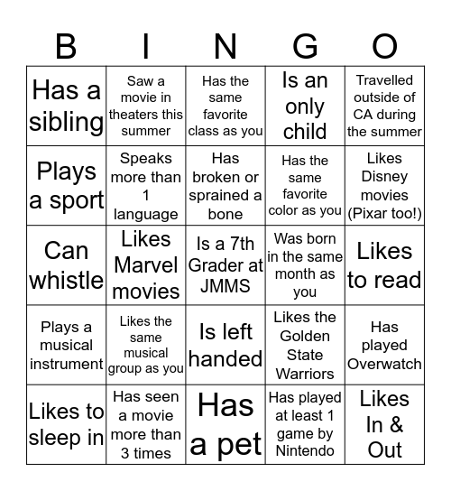 Get to Know Your Class Period Bingo Card