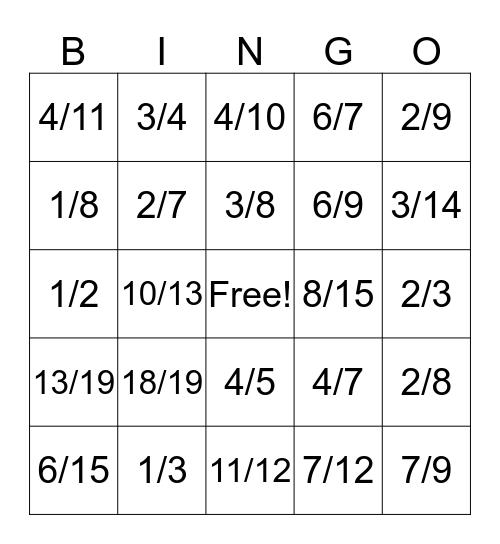 Partition Ratio Bingo Card