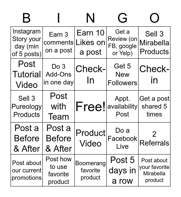Social Media Bingo Card