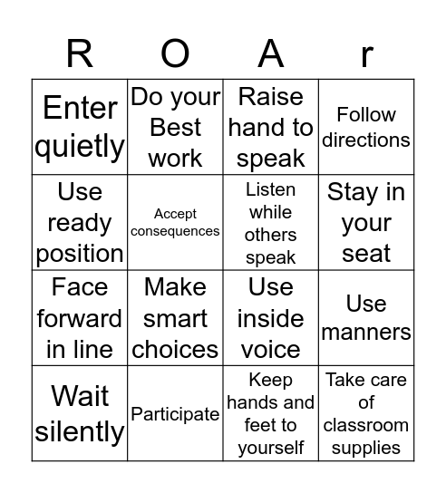 ROAR BINGO Card