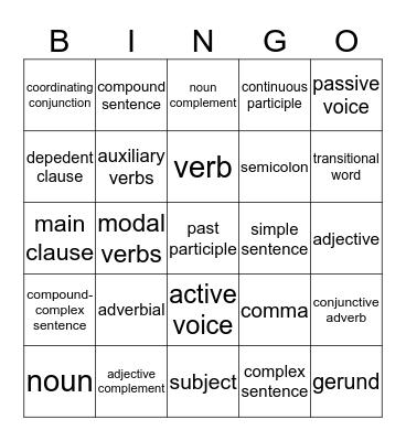Lesson Revision Bingo Card