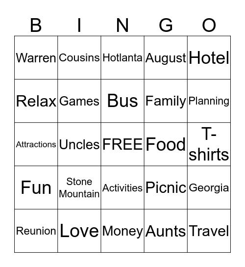 Warren Family Reunion Bingo Card